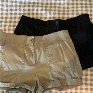Tan and black loft shorts